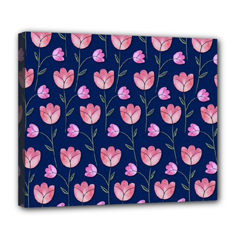 Watercolour Flower Pattern Deluxe Canvas 24  X 20