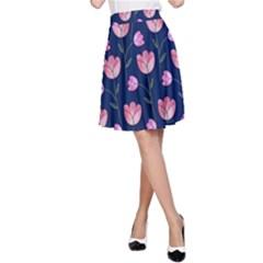 Watercolour Flower Pattern A Line Skirt