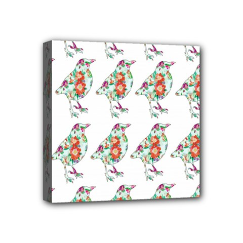 Floral Birds Wallpaper Pattern On White Background Mini Canvas 4  X 4