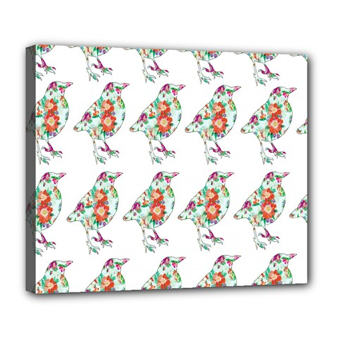 Floral Birds Wallpaper Pattern On White Background Deluxe Canvas 24  X 20   by Nexatart
