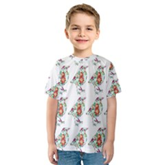 Floral Birds Wallpaper Pattern On White Background Kids  Sport Mesh Tee