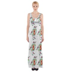 Floral Birds Wallpaper Pattern On White Background Maxi Thigh Split Dress