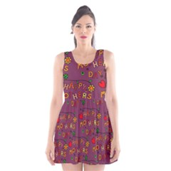 Happy Mothers Day Text Tiling Pattern Scoop Neck Skater Dress