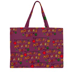 Happy Mothers Day Text Tiling Pattern Zipper Large Tote Bag by Nexatart