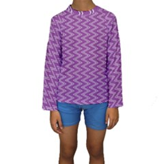 Purple Zig Zag Pattern Background Wallpaper Kids  Long Sleeve Swimwear
