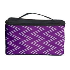 Purple Zig Zag Pattern Background Wallpaper Cosmetic Storage Case by Nexatart
