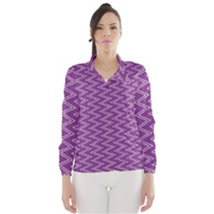 Purple Zig Zag Pattern Background Wallpaper Wind Breaker (women)