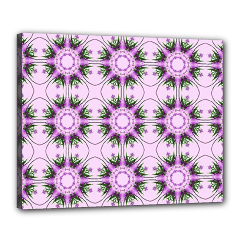 Pretty Pink Floral Purple Seamless Wallpaper Background Canvas 20  X 16