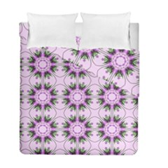 Pretty Pink Floral Purple Seamless Wallpaper Background Duvet Cover Double Side (full/ Double Size) by Nexatart