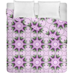 Pretty Pink Floral Purple Seamless Wallpaper Background Duvet Cover Double Side (california King Size) by Nexatart