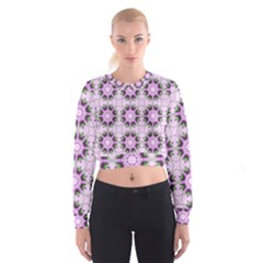 Pretty Pink Floral Purple Seamless Wallpaper Background Cropped Sweatshirt
