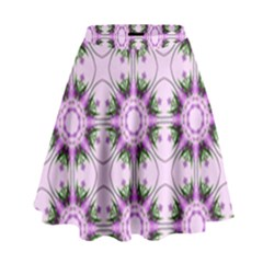 Pretty Pink Floral Purple Seamless Wallpaper Background High Waist Skirt by Nexatart