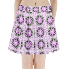 Pretty Pink Floral Purple Seamless Wallpaper Background Pleated Mini Skirt by Nexatart