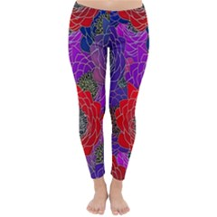 Colorful Background Of Multi Color Floral Pattern Classic Winter Leggings
