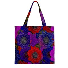 Colorful Background Of Multi Color Floral Pattern Zipper Grocery Tote Bag by Nexatart