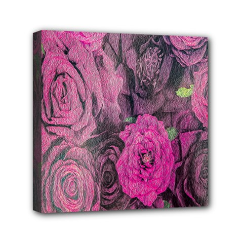 Oil Painting Flowers Background Mini Canvas 6  X 6  by Nexatart