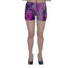 Oil Painting Flowers Background Skinny Shorts