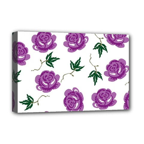 Purple Roses Pattern Wallpaper Background Seamless Design Illustration Deluxe Canvas 18  X 12