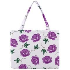 Purple Roses Pattern Wallpaper Background Seamless Design Illustration Mini Tote Bag
