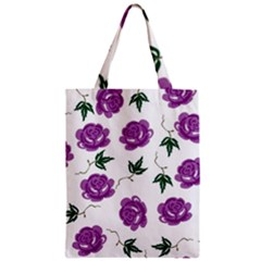 Purple Roses Pattern Wallpaper Background Seamless Design Illustration Zipper Classic Tote Bag by Nexatart