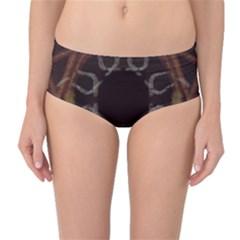 Digitally Created Seamless Pattern Mid Waist Bikini Bottoms