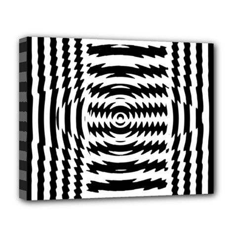 Black And White Abstract Stripped Geometric Background Deluxe Canvas 20  X 16