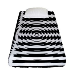 Black And White Abstract Stripped Geometric Background Fitted Sheet (single Size) by Nexatart