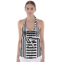 Black And White Abstract Stripped Geometric Background Babydoll Tankini Top