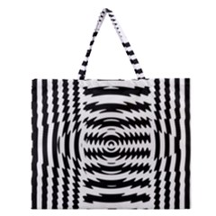 Black And White Abstract Stripped Geometric Background Zipper Large Tote Bag by Nexatart