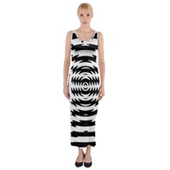 Black And White Abstract Stripped Geometric Background Fitted Maxi Dress