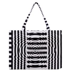 Black And White Abstract Stripped Geometric Background Medium Zipper Tote Bag by Nexatart