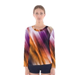 Colourful Grunge Stripe Background Women s Long Sleeve Tee