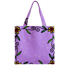 Hand Drawn Doodle Flower Border Zipper Grocery Tote Bag by Nexatart