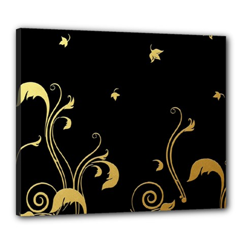 Golden Flowers And Leaves On A Black Background Canvas 24  X 20  by Nexatart