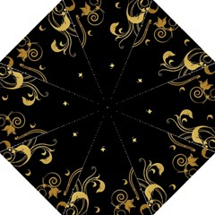 Golden Flowers And Leaves On A Black Background Golf Umbrellas by Nexatart