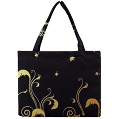 Golden Flowers And Leaves On A Black Background Mini Tote Bag by Nexatart