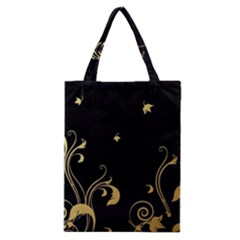 Golden Flowers And Leaves On A Black Background Classic Tote Bag
