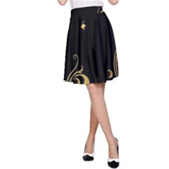 Golden Flowers And Leaves On A Black Background A Line Skirt