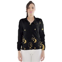 Golden Flowers And Leaves On A Black Background Wind Breaker (women)