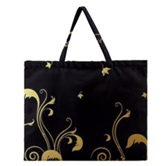 Golden Flowers And Leaves On A Black Background Zipper Large Tote Bag by Nexatart