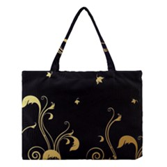 Golden Flowers And Leaves On A Black Background Medium Tote Bag by Nexatart