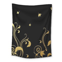 Golden Flowers And Leaves On A Black Background Medium Tapestry by Nexatart
