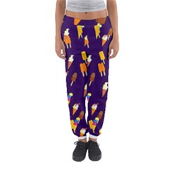 Seamless Cartoon Ice Cream And Lolly Pop Tilable Design Women s Jogger Sweatpants