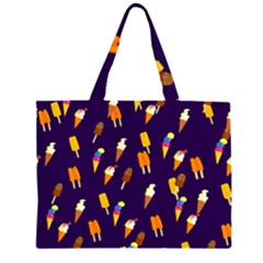 Seamless Cartoon Ice Cream And Lolly Pop Tilable Design Zipper Large Tote Bag by Nexatart
