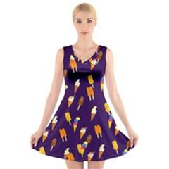 Seamless Cartoon Ice Cream And Lolly Pop Tilable Design V Neck Sleeveless Skater Dress