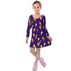 Seamless Cartoon Ice Cream And Lolly Pop Tilable Design Kids  Long Sleeve Velvet Dress