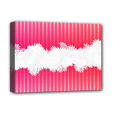 Digitally Designed Pink Stripe Background With Flowers And White Copyspace Deluxe Canvas 16  X 12   by Nexatart