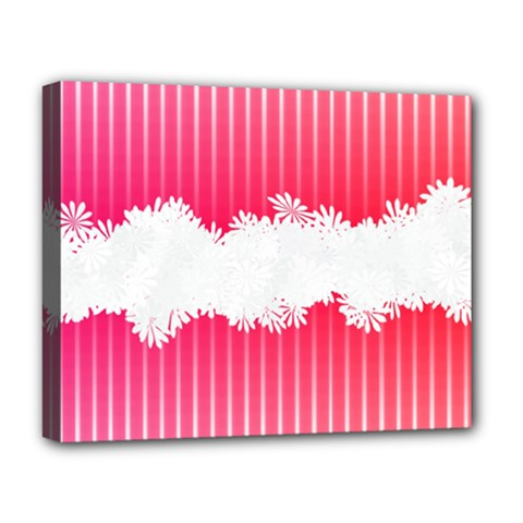 Digitally Designed Pink Stripe Background With Flowers And White Copyspace Deluxe Canvas 20  X 16   by Nexatart