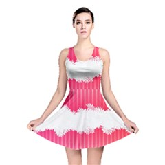 Digitally Designed Pink Stripe Background With Flowers And White Copyspace Reversible Skater Dress
