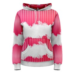 Digitally Designed Pink Stripe Background With Flowers And White Copyspace Women s Pullover Hoodie